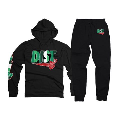 District 81 Pullover Jogging Suit (Black/Green)