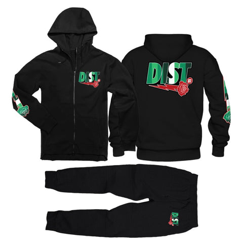 District 81 Zip Up Jogging Suit (Black/Green)