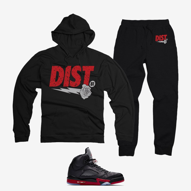 District 81 Pullover Jogging Suit (Black/Red)