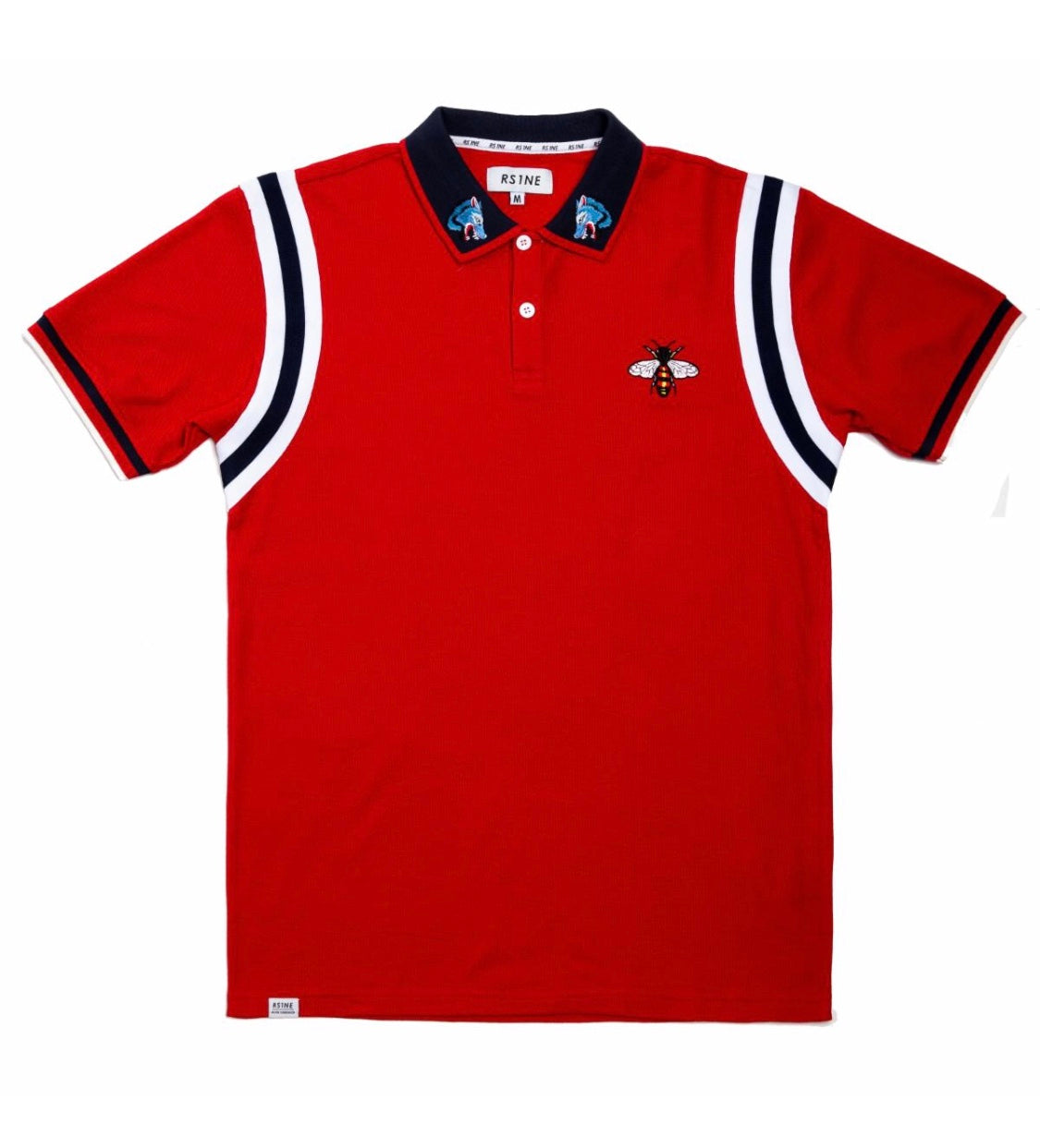 RISE AS 1NE Tiger & Butterfly Polo In Red