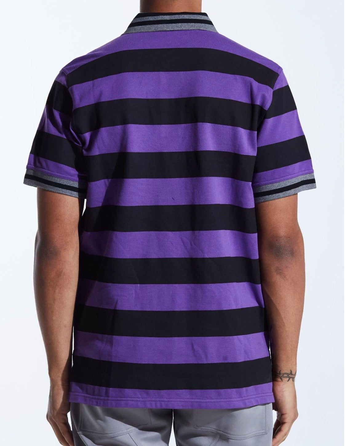 Karter Collection Striped Groot Polo Shirt (Purple/Black)