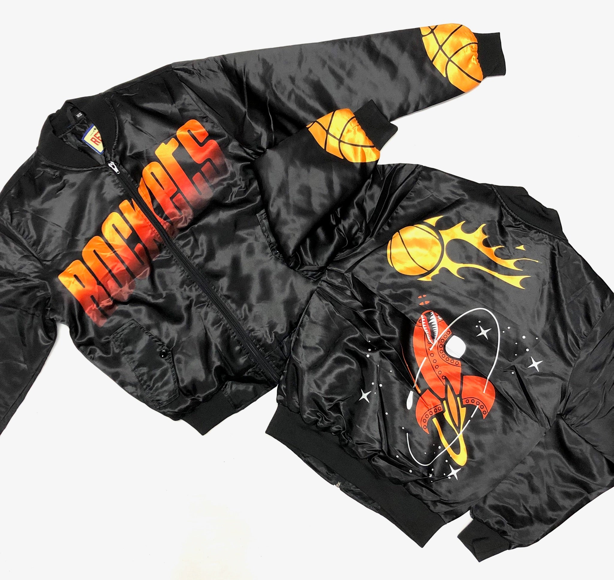 RETRO LABEL ROCKETS BOMBER JACKET (BLACK)