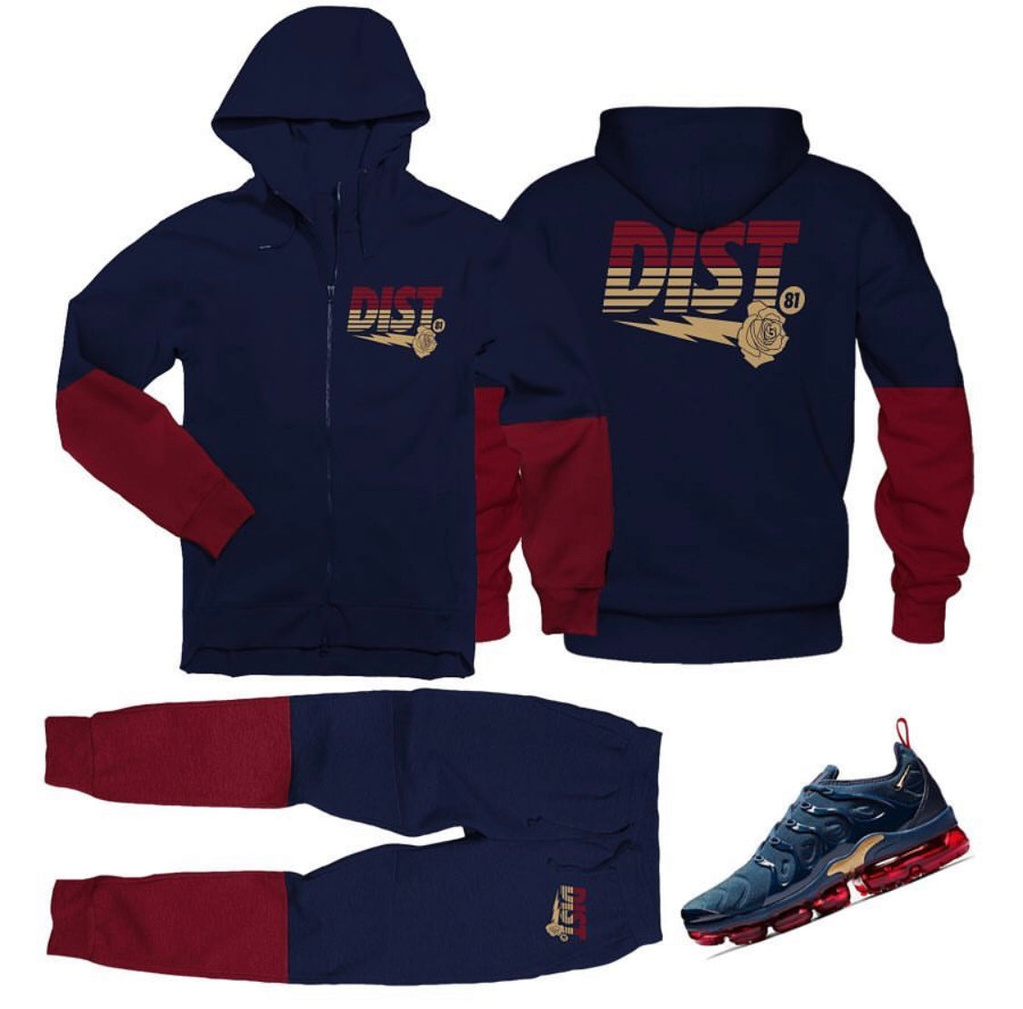 DISTRICT 81 Max Plus Zip Up Jogging Suit (Navy)
