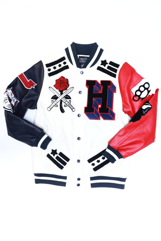 HERITAGE AMERICA Leather Varsity Patch Jacket