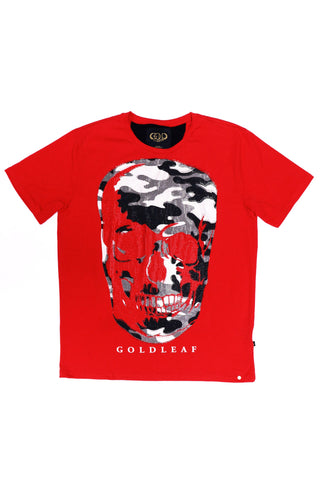 GOLD LEAF Skull Fatigue Tee (Red)