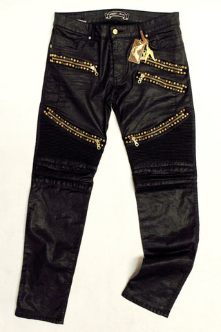 Robins Gold Beaded Black Bikers Jeans