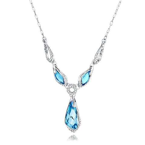 Crystal Aquamarine Fashion Style Necklace