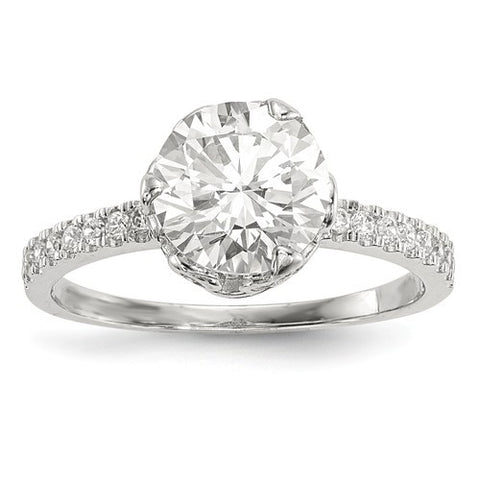 Lumax 10K Tiara Collection White Gold Polished CZ Ring