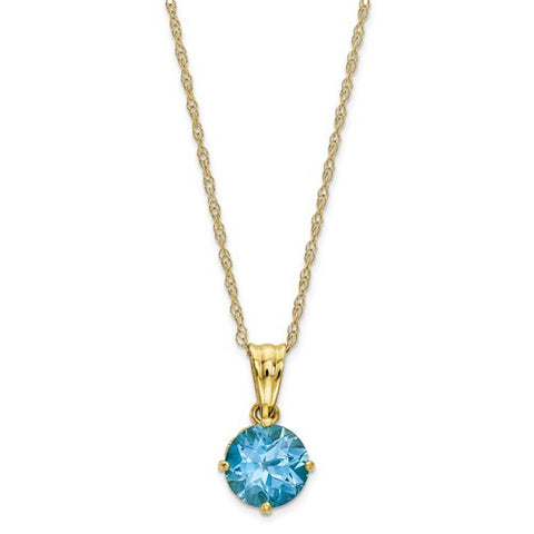 10K  Diamond Sky Blue Topaz Necklace