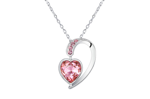 Heart Shape Rose Crystal Pendant 18 Inches