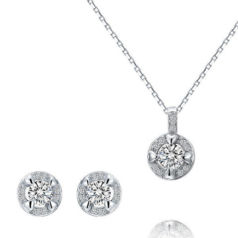 Round Cut Crystal Little Hearts Pendant & Earrings Sterling Silver Set