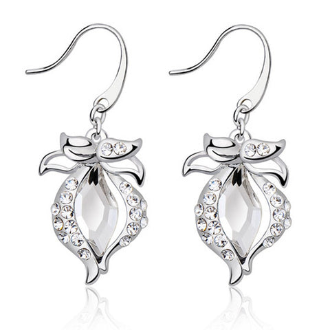 Tulip Flower Crystal Earrings