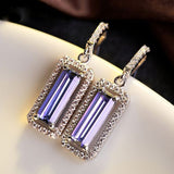 Rectangular Violet Earrings.
