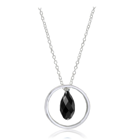 Black Briolette Crystal Ring Pendant.