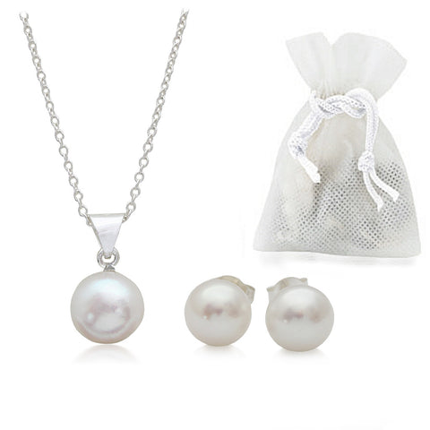 White 9.0MM AAA Quality Freshwater Pearl Sterling Silver Stud Earrings & Pendant Set