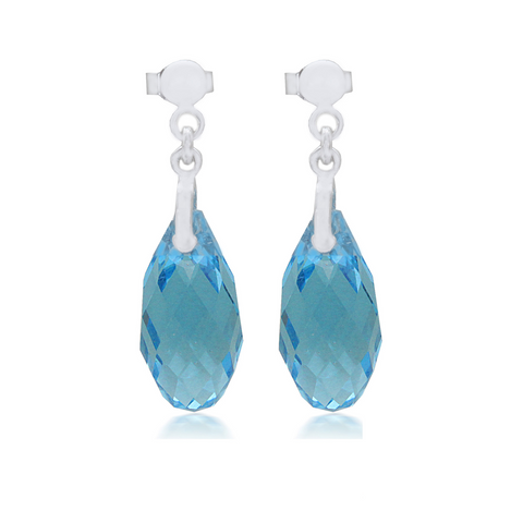 Aquamarine Briolette Crystal Earrings Sterling Silver