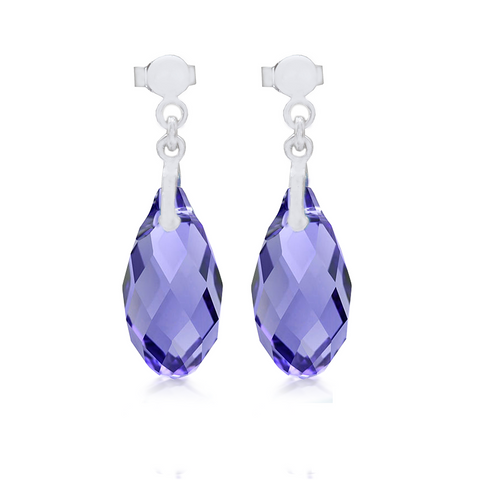 Swarovski Tanzanite Briolette Crystal Earrings Sterling Silver