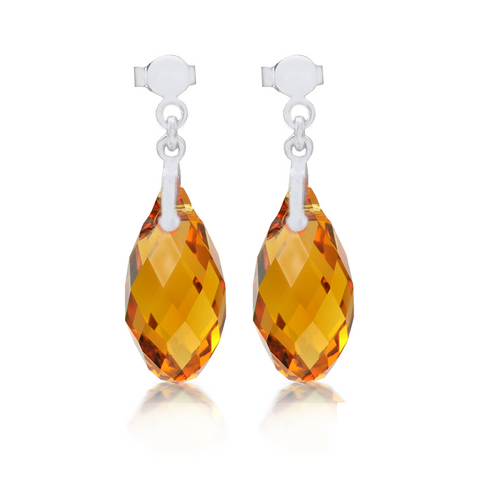 Topaz Briolette Crystal Earrings Sterling Silver