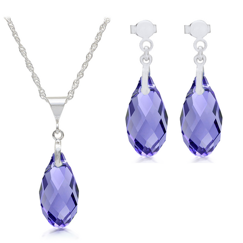 Tanzanite Crystal Pendant & Earrings Sterling Silver Set