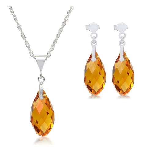 Topaz Crystal Pendant & Earrings Sterling Silver Set