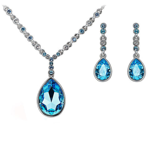 Aquamarine Crystal Drop Pendant and Earrings Set