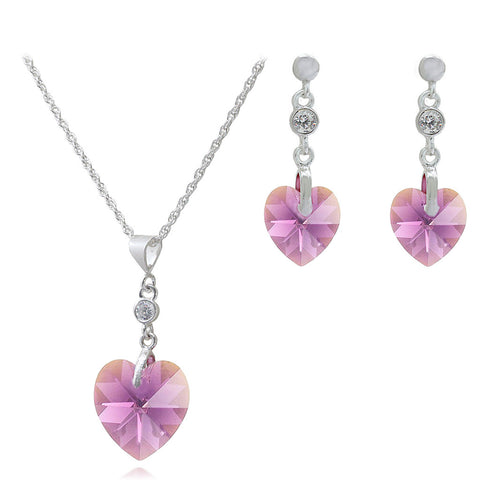 "Amethyst Crystal Heart ""Love U"" Pendant & Matching Earrings Set."
