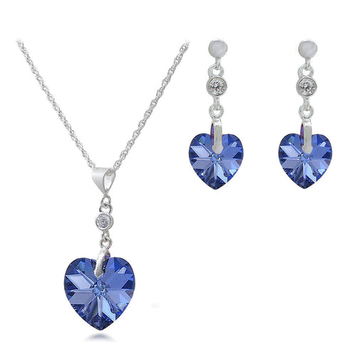 "Malibu Crystal Heart ""Love U"" Pendant & Matching Earrings Set in Sterling Silver"