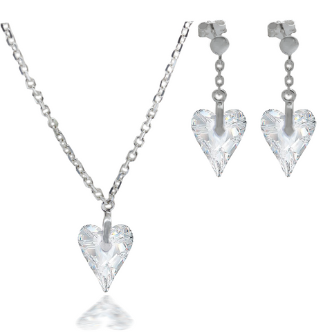 Wild Heart Crystal Pendant & Matching Earrings Set