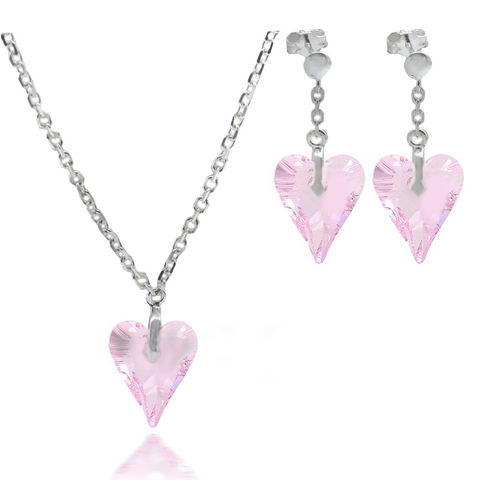 Rosaline Wild Heart Crystal Pendant & Matching Earrings Set