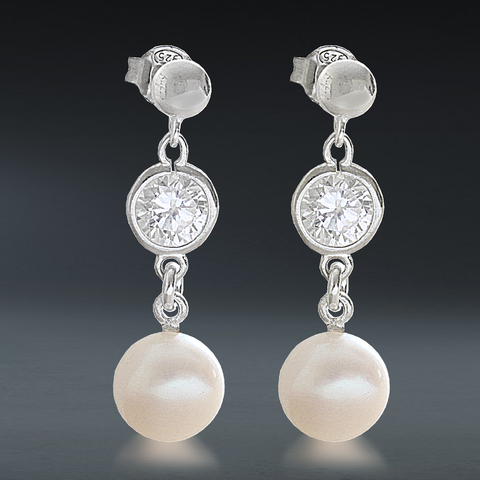 AAA Quality White Round Freshwater & Cubic Zirconia Drop Sterling Silver Earrings