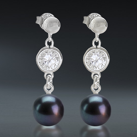 AAA Quality Black Round Freshwater & Cubic Zirconia Drop Sterling Silver Earrings