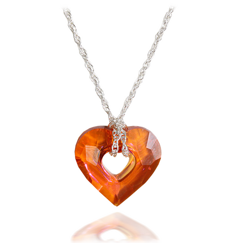 Red Magma Crystal Miss U Heart Pendant