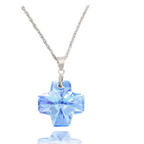 Aquamarine Crystal Cross Pendant.
