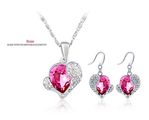 Rose Crystal Heart Pendant 18 Inches & Earrings Set