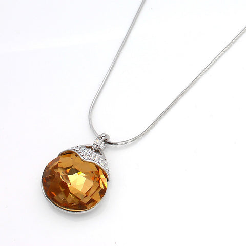 Round Shape Yellow Topaz Crystal Drop Pendant on Snake Chain