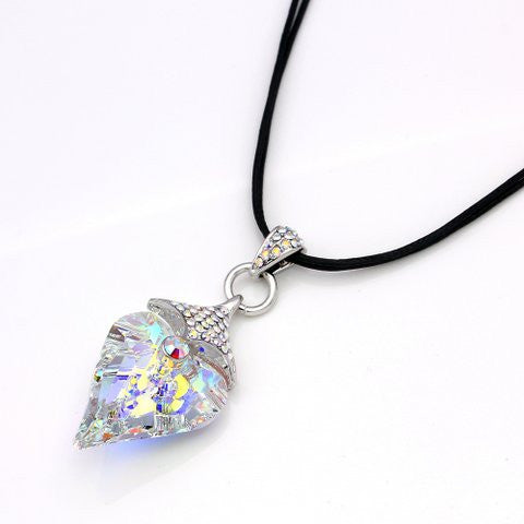 Lumax Swarovski Heart & Leather Pendant.