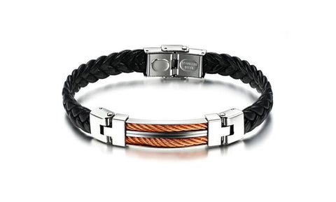 Lumax Stainless Steel and Leather Bracelet.