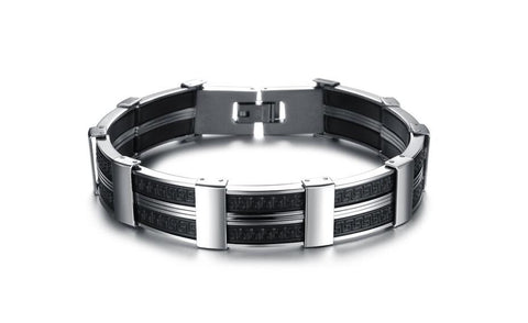 Lumax Men's Stainless Steel and Silicon Bracelet.