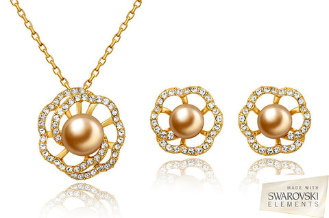 Golden Freshwater Pearl Pendant and Matching Pearl Earrings Set