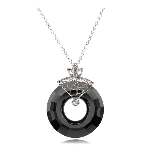Circle Cut Black Jet Crystal Sterling Silver Pendant
