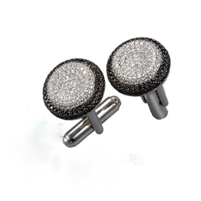 Black and White Cufflinks With Swarovski Zirconia.