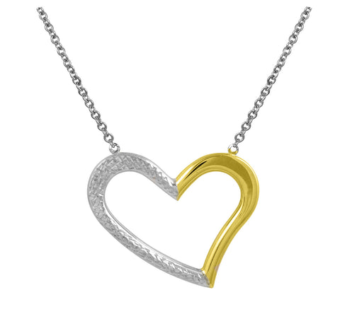 Two Tone Open Heart Necklace. ( 10K )