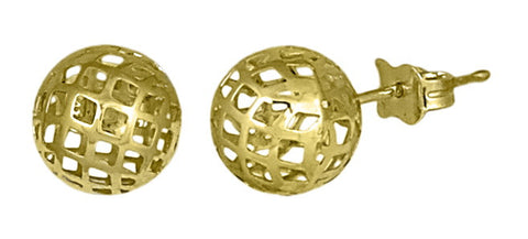 10k Golden Sphere Mesh Stud Earrings