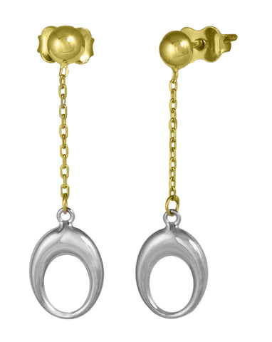 "10K Two Tone ""Hoop on a Chain"" Stud Earrings"