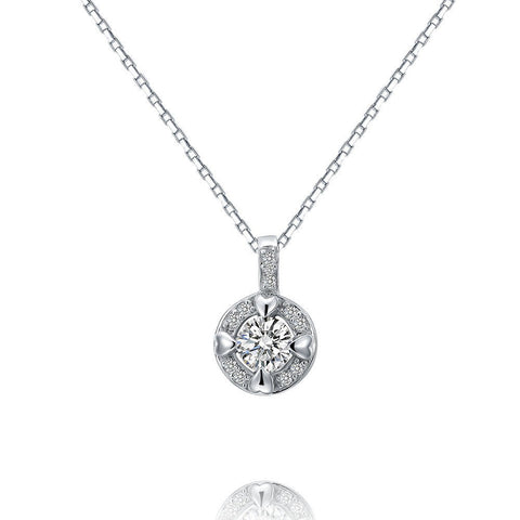 Round Cut Crystal Little Hearts Pendant Sterling Silver