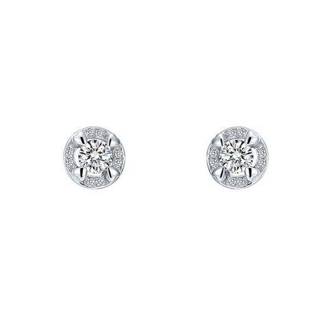 Round Cut Crystal Little Hearts Earrings Sterling Silver