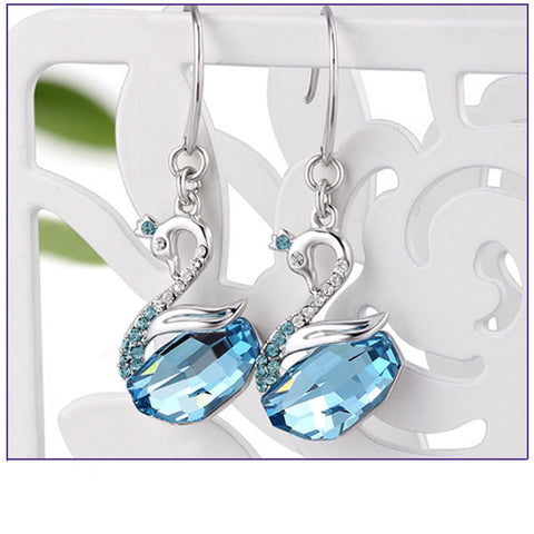Aquamarine Swan Crystal Sterling Silver Earrings