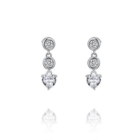 Past Present Future Crystal Heart Shape Sterling Silver Earrings