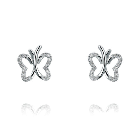 Crystal Butterfly Earrings Sterling Silver