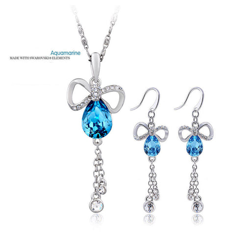 "Aquamarine ""Dance with the Butterfly"" Pendant and Earrings Set"